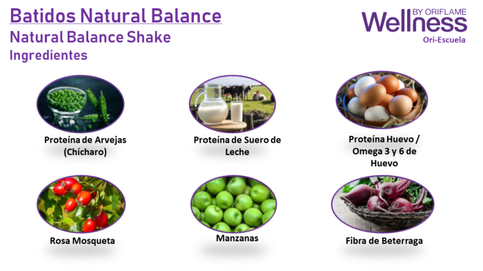 Ingredientes Batidos Natural Balance - Wellness by Oriflame