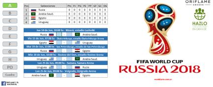 Vista del fixture Rusia 2018 en Excel