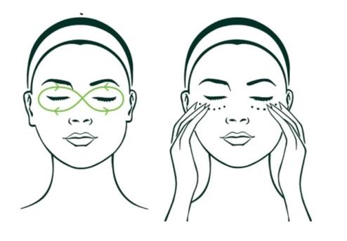 Masaje para distribuir la crema de contorno de ojos